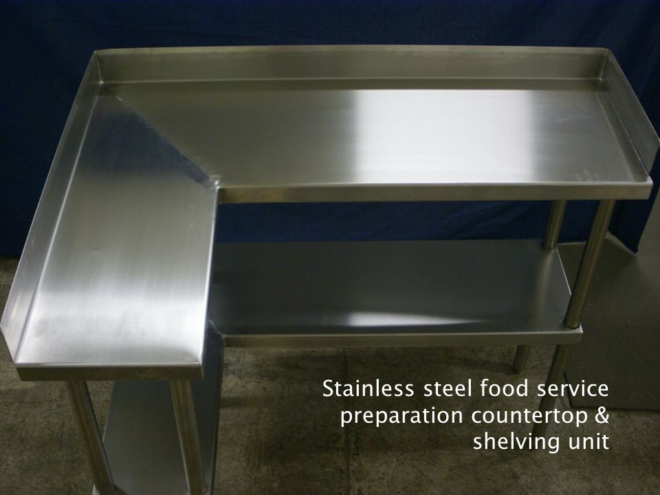 Stainless steel food service preparation countertop & shelving unit