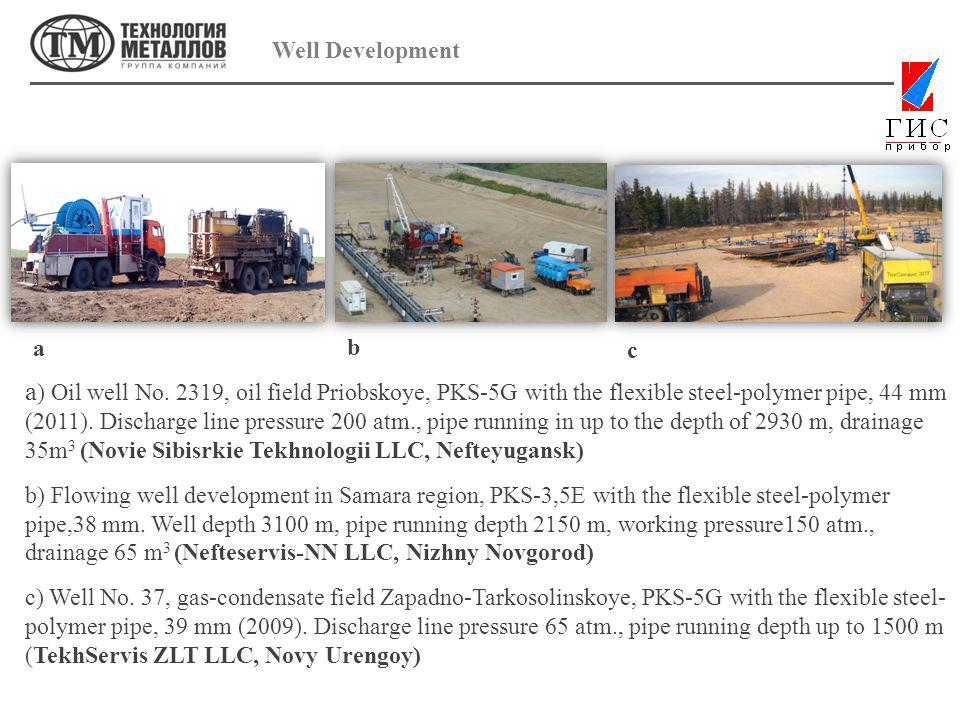 Well Development a ) Oil well No. 2319, oil field Priobskoye, PKS-5G with the flexible steel-polymer pipe, 44 mm (2011). Discharge line pressure 200 a