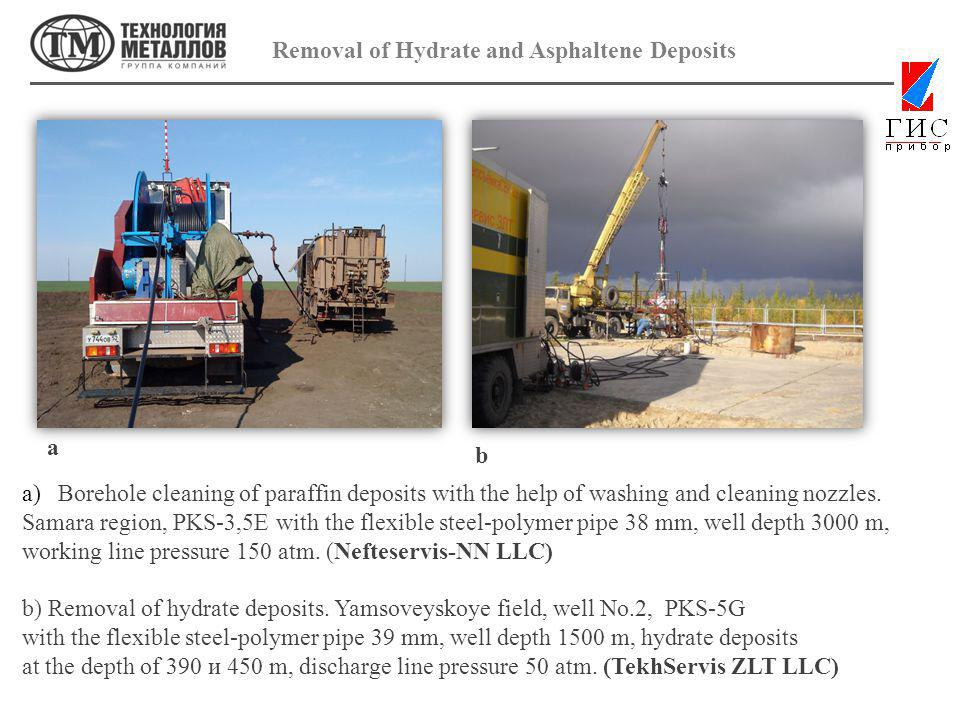 Removal of Hydrate and Asphaltene Deposits a)Borehole cleaning of paraffin deposits with the help of washing and cleaning nozzles.