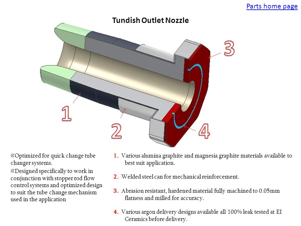 Tundish Outlet Nozzle Optimized for quick change tube changer systems. Designed specifically to work in conjunction with stopper rod flow control syst