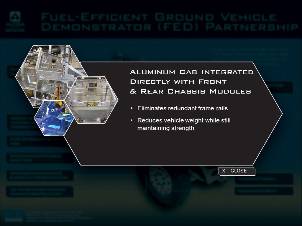 X CLOSE Eliminates redundant frame rails Reduces vehicle weight while still maintaining strength