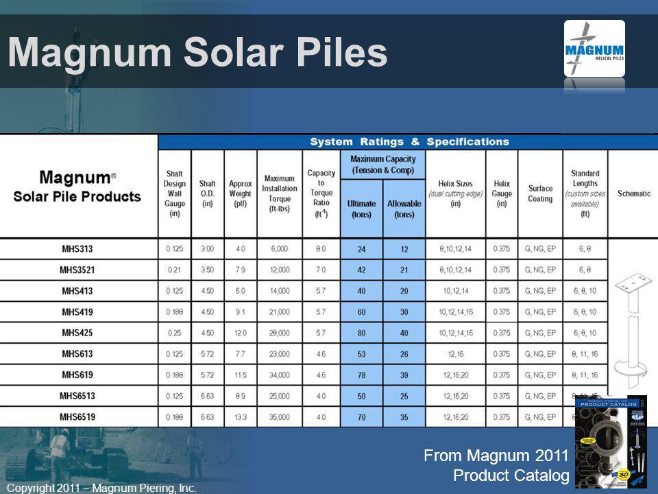 Magnum Solar Piles From Magnum 2011 Product Catalog