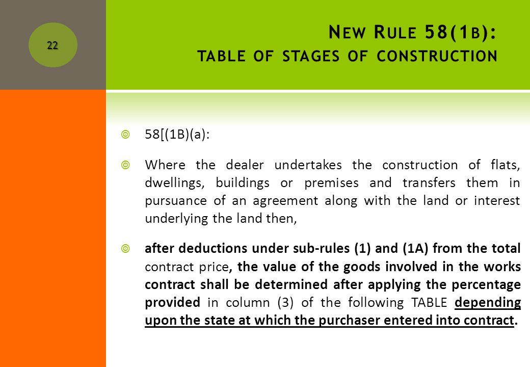 O NCE LAND VALUE IS DETERMINED, FIND METHOD OF TAX AND NOW FIND STAGE OF CONSTRUCTION. Now lets look at each method and effect of new rules on tax lia