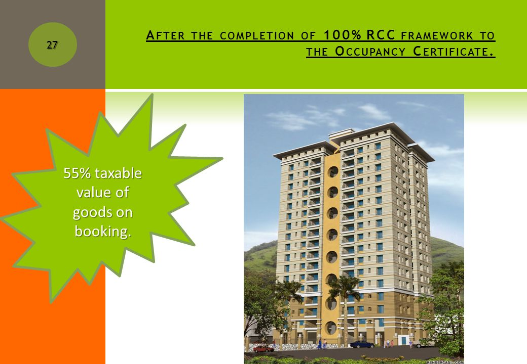 A FTER THE COMPLETION OF PLINTH LEVEL TO THE COMPLETION OF 100% OF RCC FRAMEWORK.