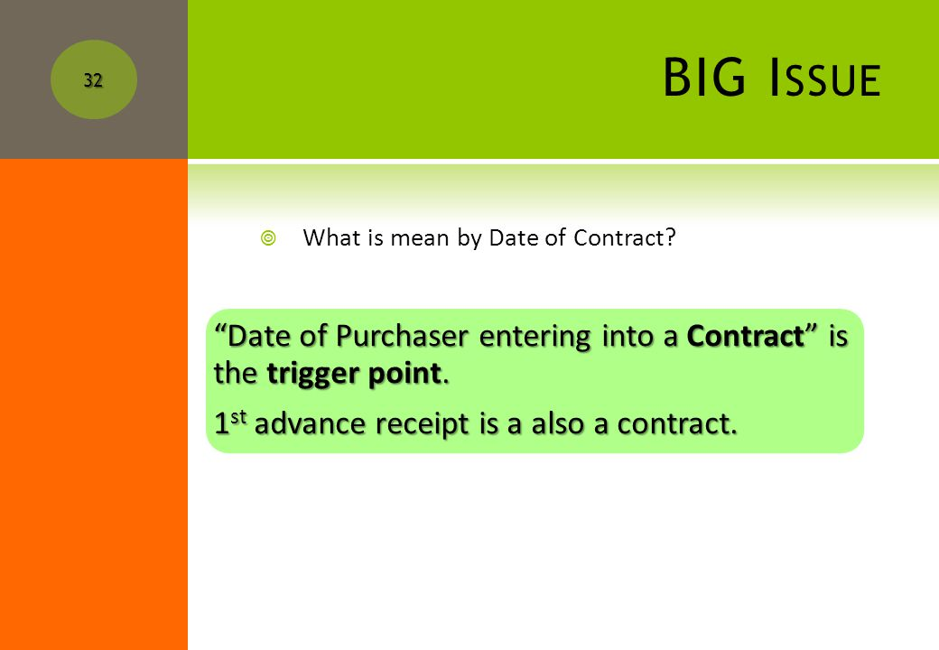 31 Sr. No. Stage during which the developer enters into a contract with the purchaser. Who can issue the certificate Amount to be determined as value