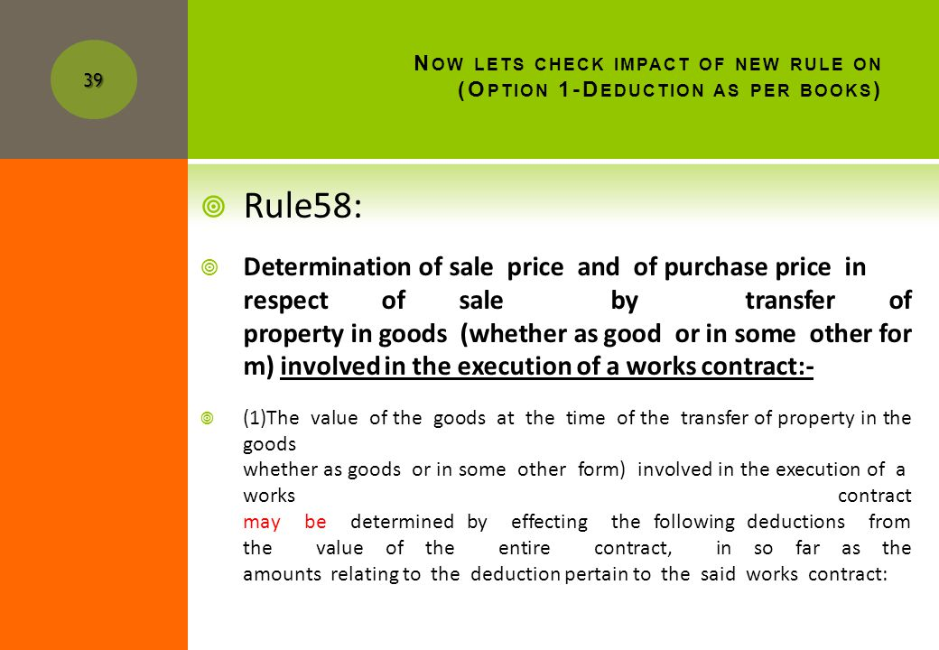 N OW LETS CHECK IMPACT OF NEW RULE ON (O PTION 1-D EDUCTION AS PER BOOKS ) 38