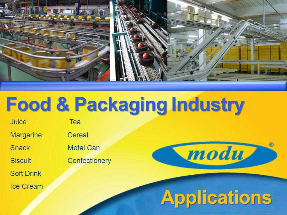MODU System – Product IntroductionApplications Food & Packaging Industry Tea Cereal Metal Can Confectionery Accumulator Juice Margarine Snack Biscuit Soft Drink Ice Cream