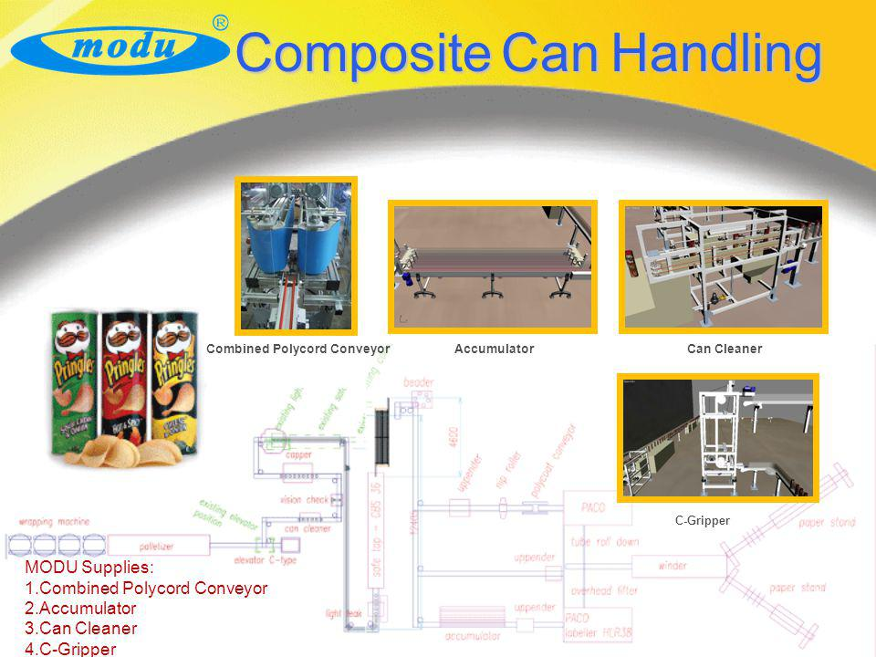 Composite Can Handling MODU Supplies: 1.Combined Polycord Conveyor 2.Accumulator 3.Can Cleaner 4.C-Gripper Combined Polycord ConveyorAccumulatorCan Cl