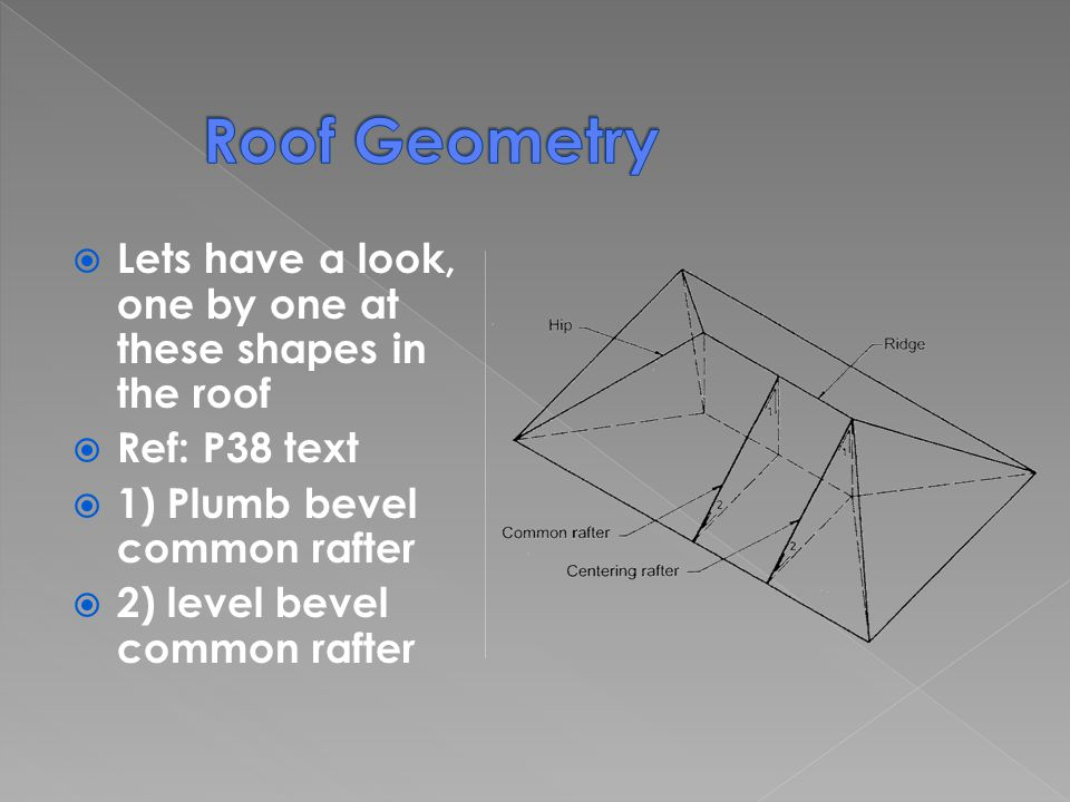 Lets have a look, one by one at these shapes in the roof Ref: P38 text 1) Plumb bevel common rafter 2) level bevel common rafter