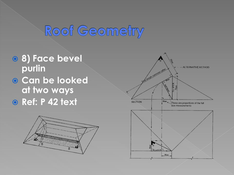8) Face bevel purlin Can be looked at two ways Ref: P 42 text