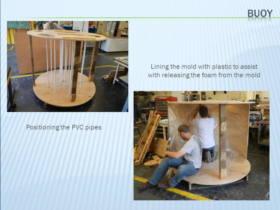 Positioning the PVC pipes Lining the mold with plastic to assist with releasing the foam from the mold