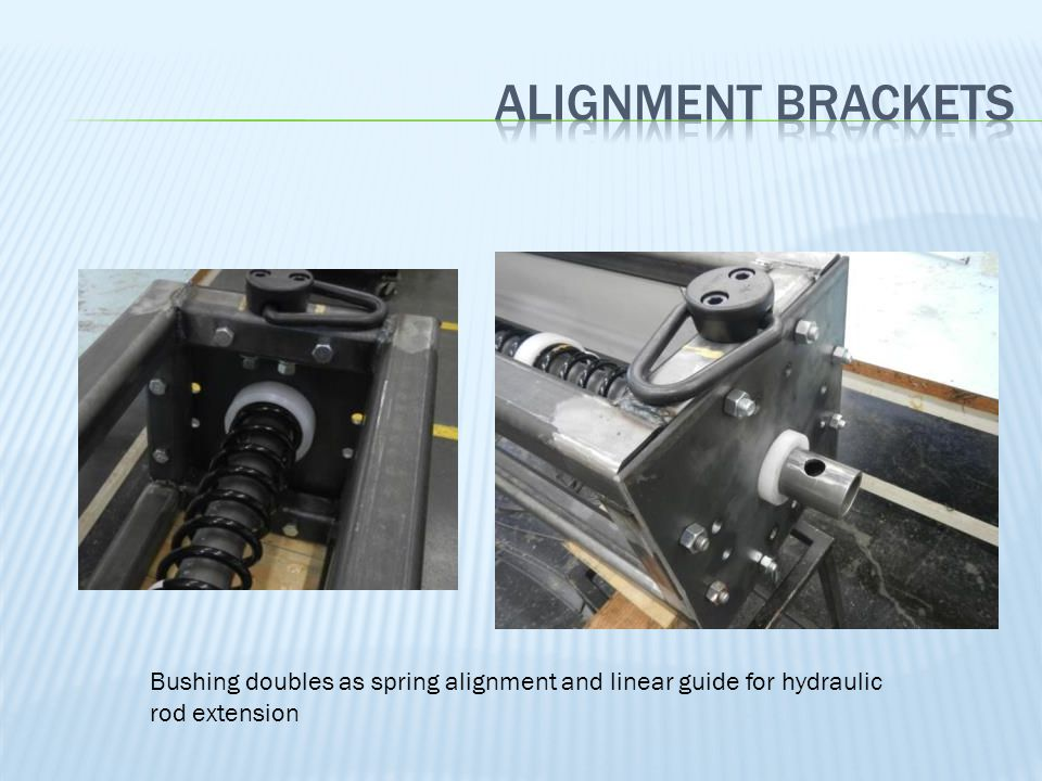 Bushing doubles as spring alignment and linear guide for hydraulic rod extension
