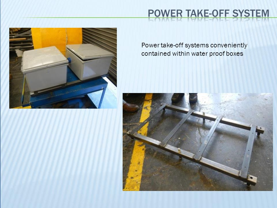 Power take-off systems conveniently contained within water proof boxes