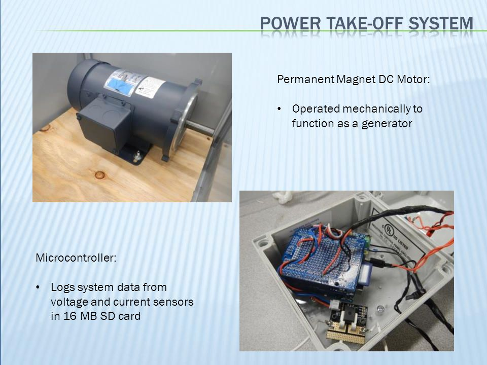 Permanent Magnet DC Motor: Operated mechanically to function as a generator Microcontroller: Logs system data from voltage and current sensors in 16 M