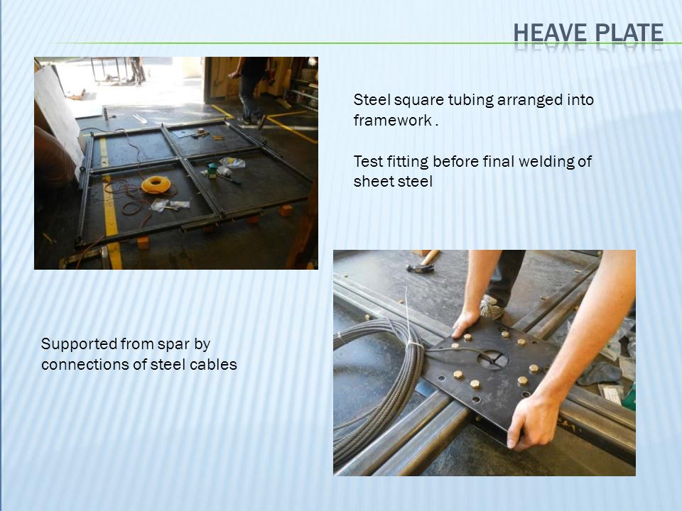 Steel square tubing arranged into framework. Test fitting before final welding of sheet steel Supported from spar by connections of steel cables