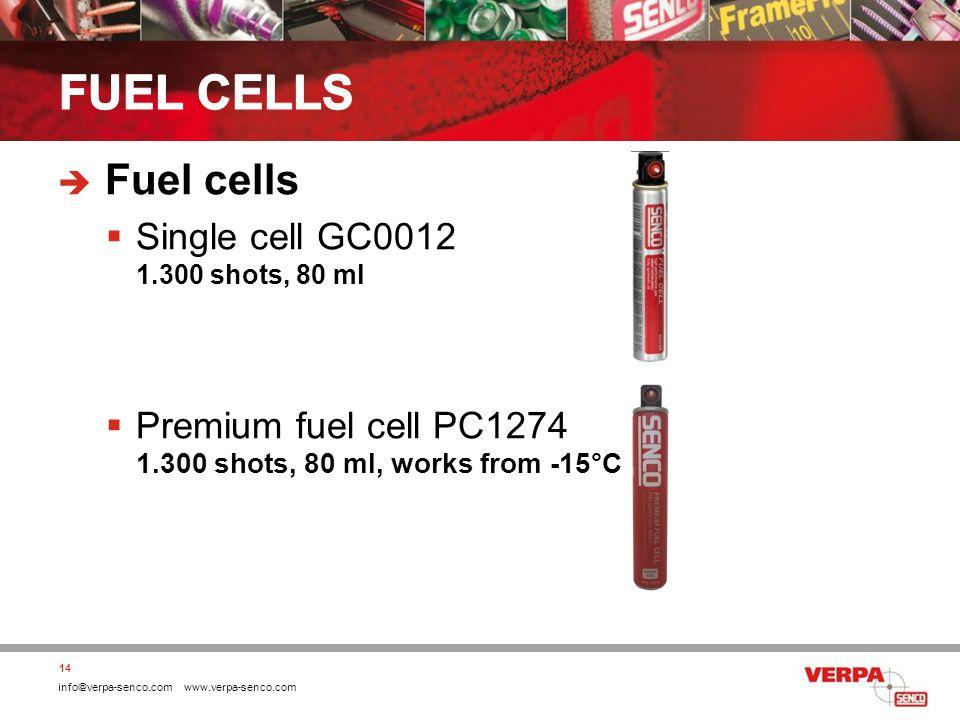 info@verpa-senco.com www.verpa-senco.com Fuel cells Single cell GC0012 1.300 shots, 80 ml Premium fuel cell PC1274 1.300 shots, 80 ml, works from -15°