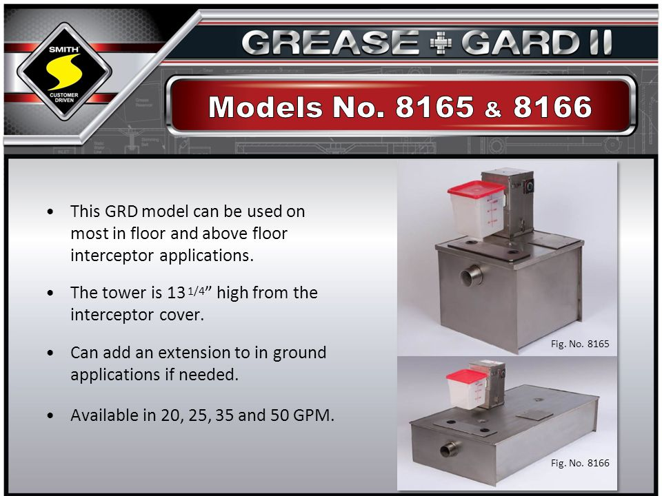 This GRD model can be used on most in floor and above floor interceptor applications.