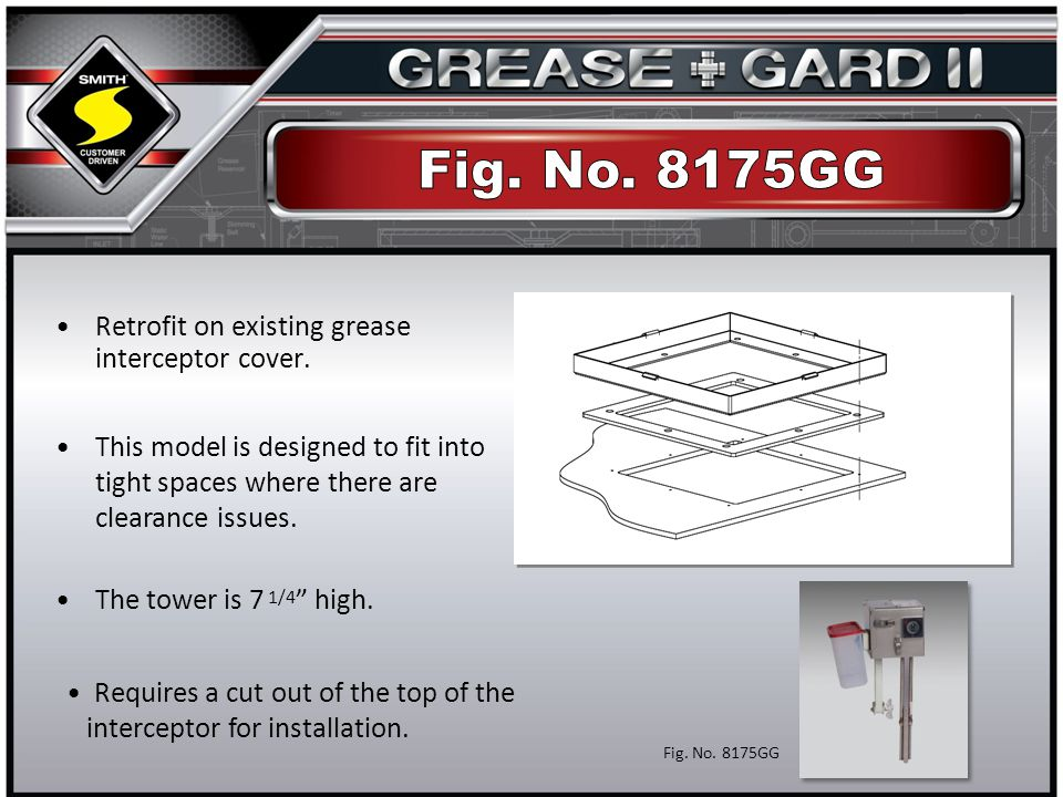 Retrofit on existing grease interceptor cover. The tower is 7 1/4 high.