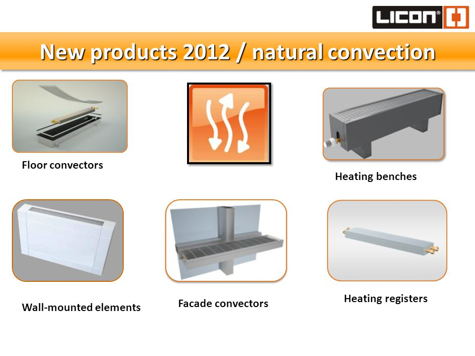 \\\\\ New products 2012 / natural convection Floor convectors Wall-mounted elements Heating benches Heating registers Facade convectors