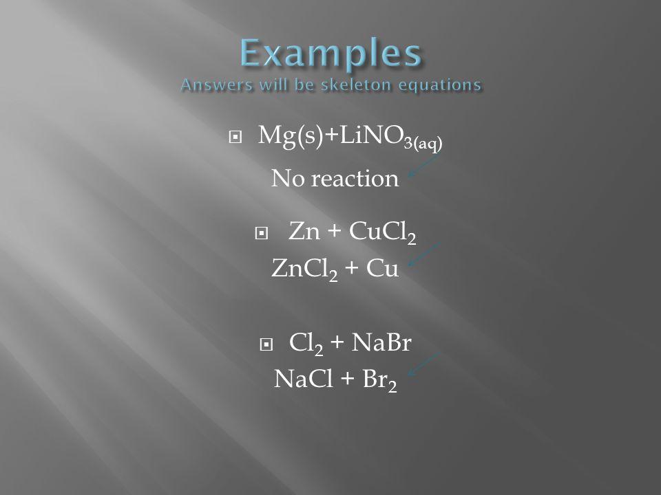 Mg(s)+LiNO 3(aq) No reaction Zn + CuCl 2 ZnCl 2 + Cu Cl 2 + NaBr NaCl + Br 2
