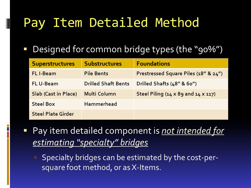 Designed for common bridge types (the 90%) Pay item detailed component is not intended for estimating specialty bridges Specialty bridges can be estim