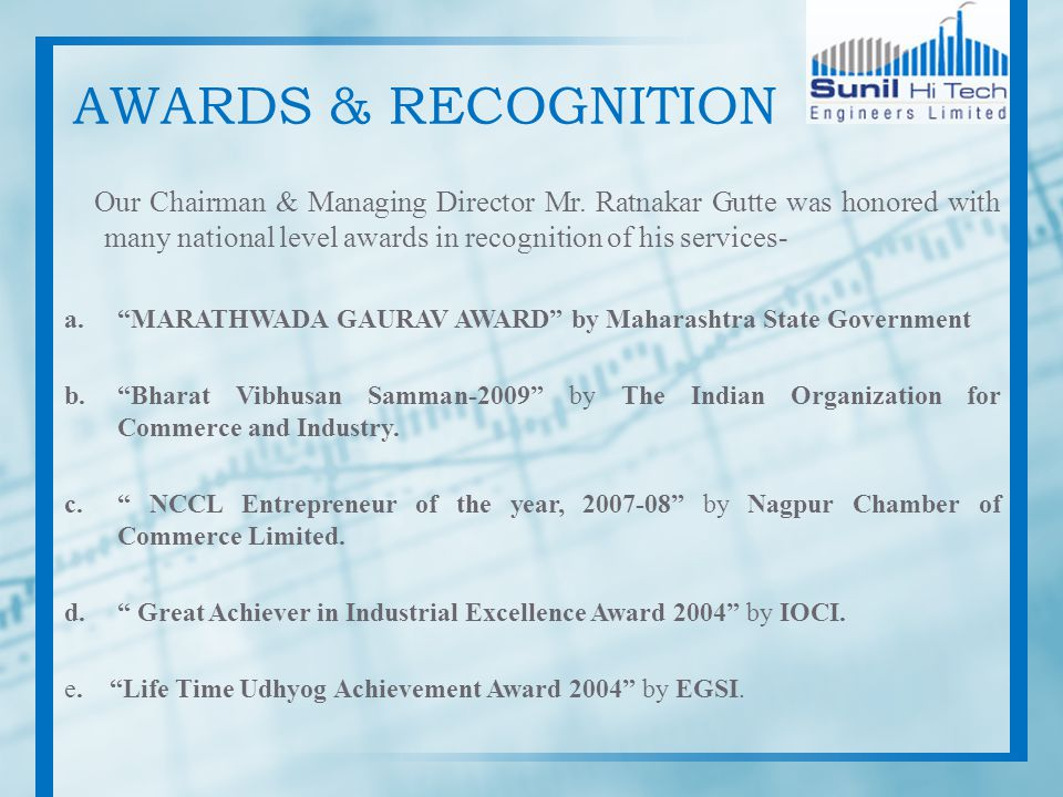 AWARDS & RECOGNITION Our Chairman & Managing Director Mr. Ratnakar Gutte was honored with many national level awards in recognition of his services- a