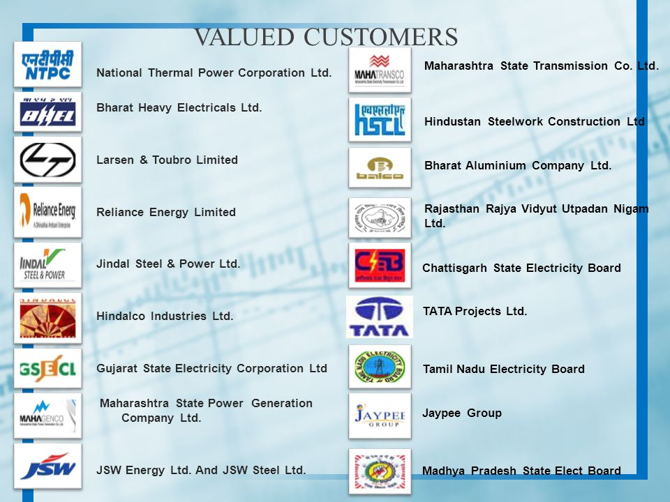 National Thermal Power Corporation Ltd. Bharat Heavy Electricals Ltd. Larsen & Toubro Limited Reliance Energy Limited Jindal Steel & Power Ltd. Hindal