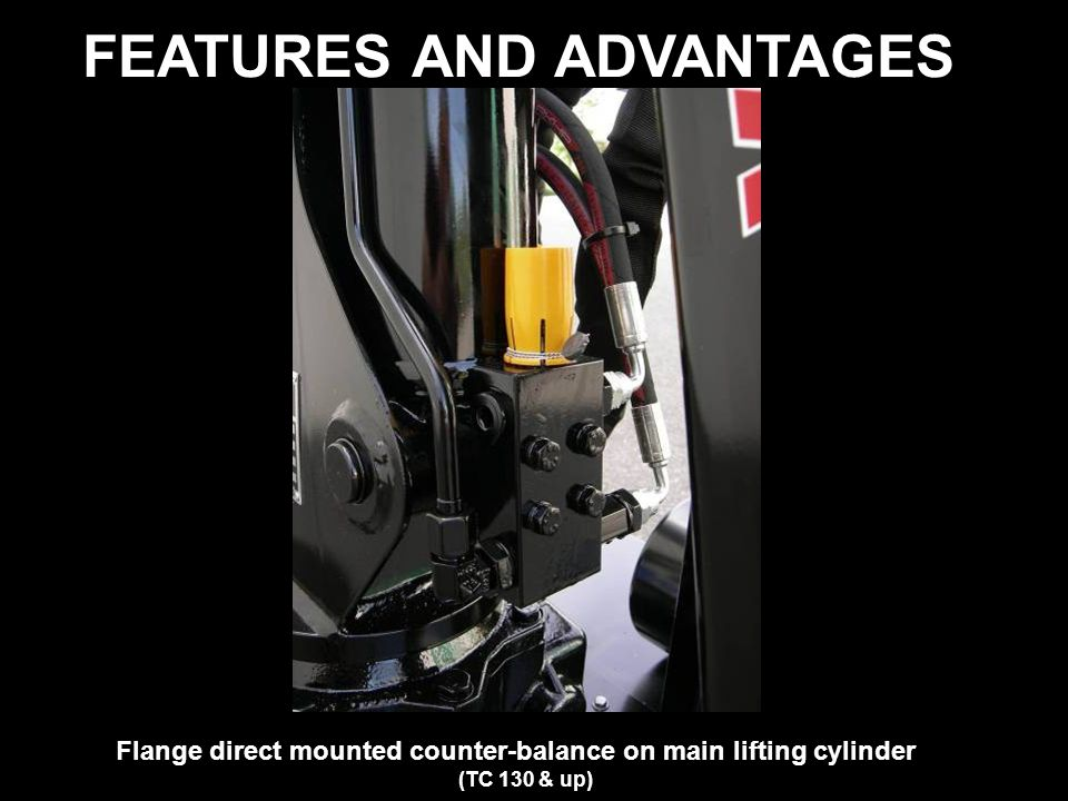 FEATURES AND ADVANTAGES Flange direct mounted counter-balance on main lifting cylinder (TC 130 & up)