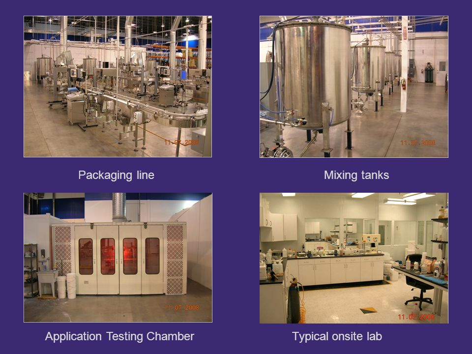 Packaging line Application Testing ChamberTypical onsite lab Mixing tanks
