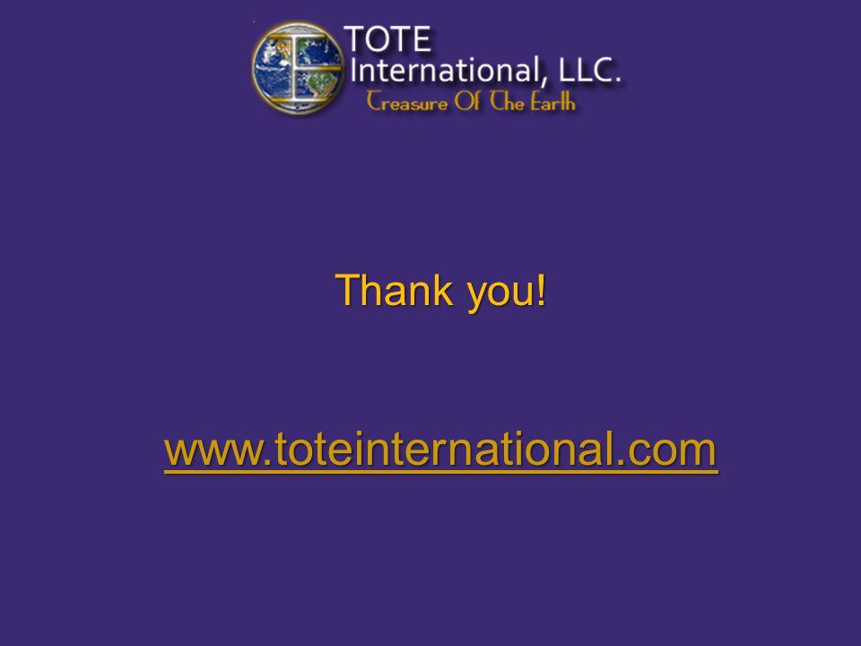 Thank you! www.toteinternational.com