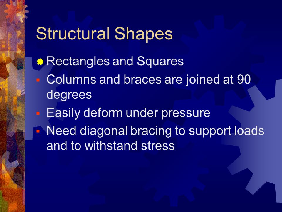 Structural Shapes Rectangles and Squares Columns and braces are joined at 90 degrees Easily deform under pressure Need diagonal bracing to support loa