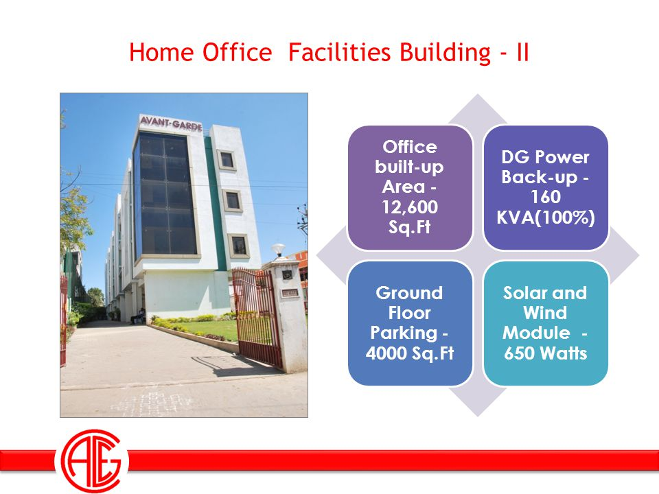 Home Office Facilities Building - II Office built-up Area - 12,600 Sq.Ft DG Power Back-up - 160 KVA(100%) Ground Floor Parking - 4000 Sq.Ft Solar and