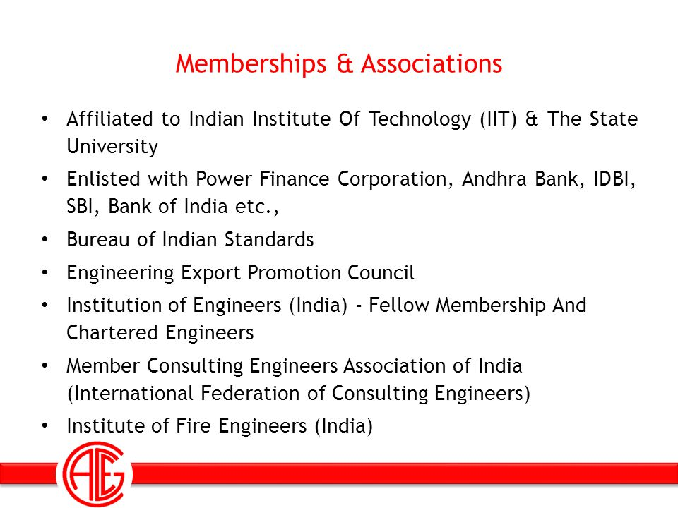 Memberships & Associations Affiliated to Indian Institute Of Technology (IIT) & The State University Enlisted with Power Finance Corporation, Andhra B