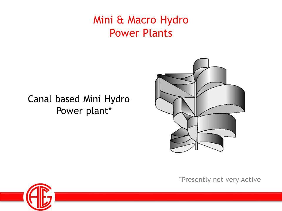 Mini & Macro Hydro Power Plants Canal based Mini Hydro Power plant* *Presently not very Active