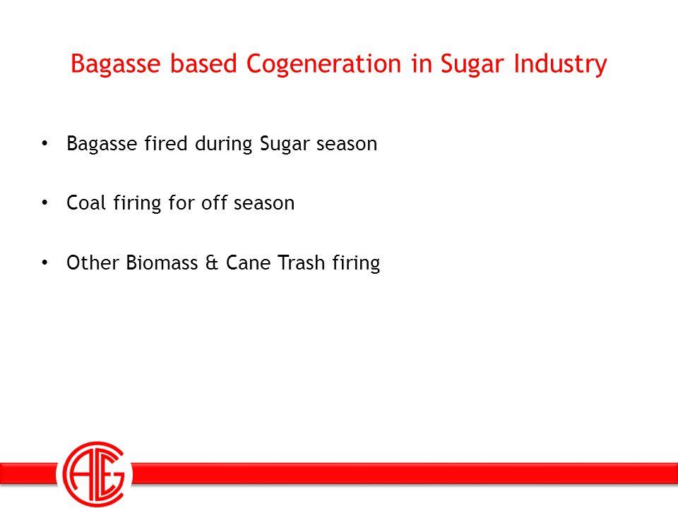 Bagasse based Cogeneration in Sugar Industry Bagasse fired during Sugar season Coal firing for off season Other Biomass & Cane Trash firing