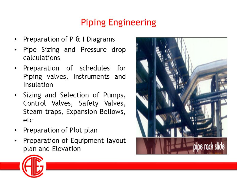 Piping Engineering Preparation of P & I Diagrams Pipe Sizing and Pressure drop calculations Preparation of schedules for Piping valves, Instruments an