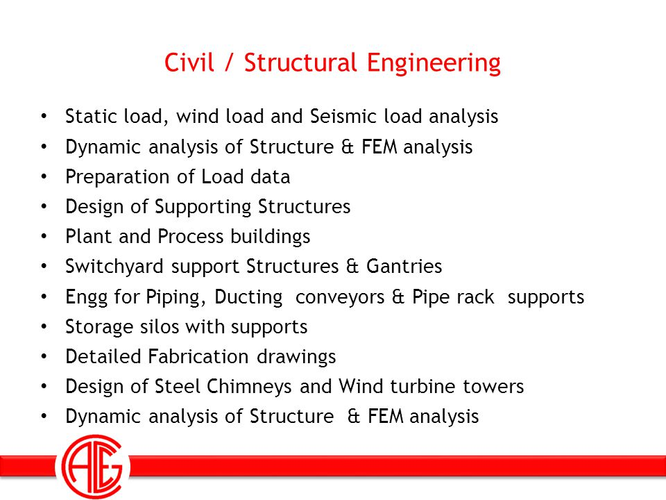 Civil / Structural Engineering Static load, wind load and Seismic load analysis Dynamic analysis of Structure & FEM analysis Preparation of Load data