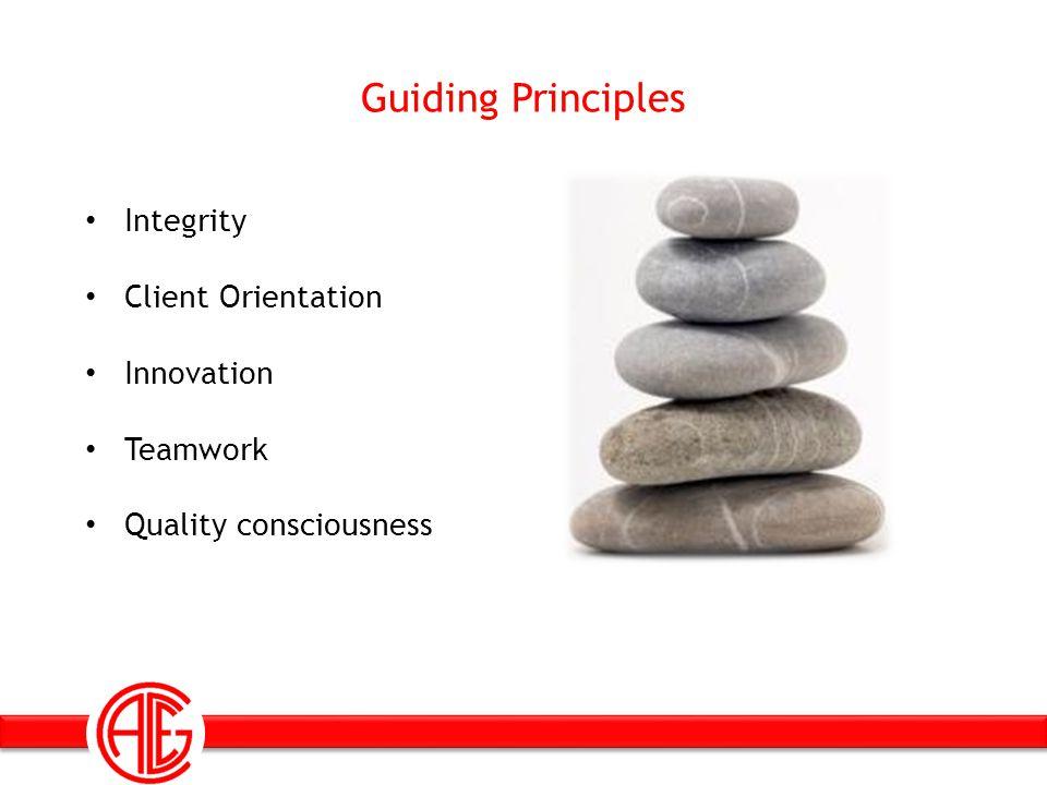 Guiding Principles Integrity Client Orientation Innovation Teamwork Quality consciousness