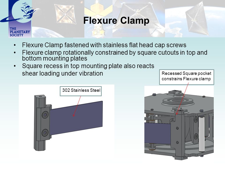 Flexure Clamp Flexure Clamp fastened with stainless flat head cap screws Flexure clamp rotationally constrained by square cutouts in top and bottom mounting plates Square recess in top mounting plate also reacts shear loading under vibration 302 Stainless Steel Recessed Square pocket constrains Flexure clamp
