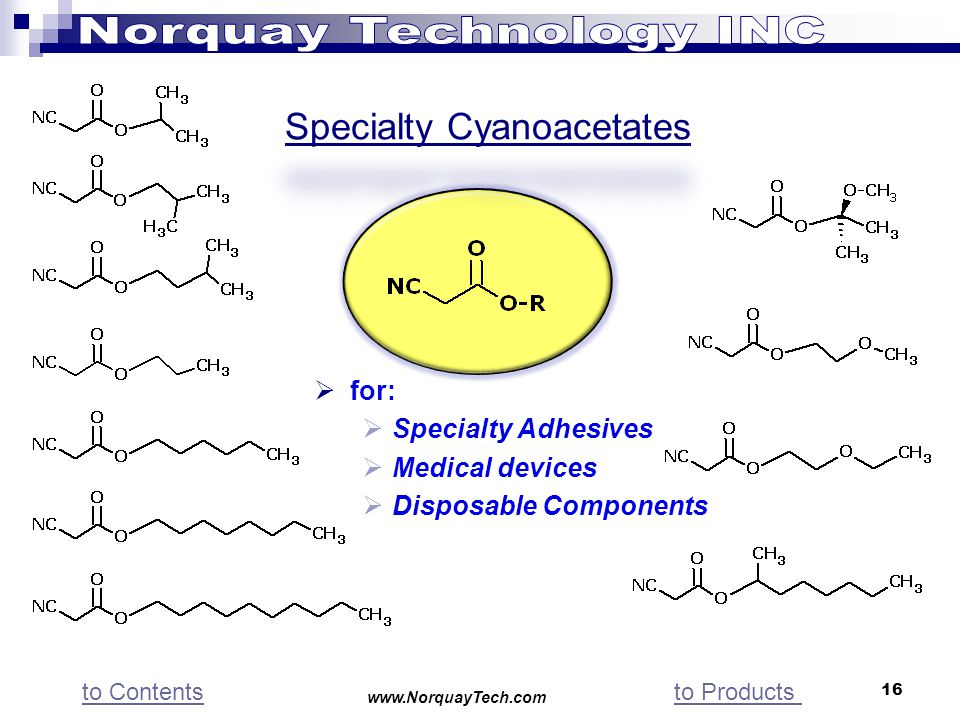16 for: Specialty Adhesives Medical devices Disposable Components www.NorquayTech.com to Contentsto Products