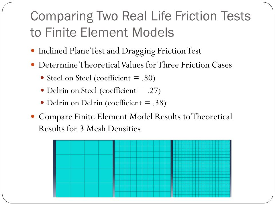 Comparing Two Real Life Friction Tests to Finite Element Models Inclined Plane Test and Dragging Friction Test Determine Theoretical Values for Three Friction Cases Steel on Steel (coefficient =.80) Delrin on Steel (coefficient =.27) Delrin on Delrin (coefficient =.38) Compare Finite Element Model Results to Theoretical Results for 3 Mesh Densities