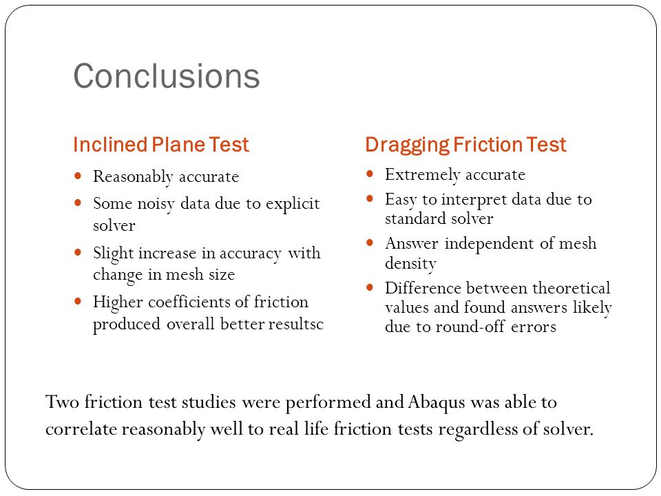 Conclusions Inclined Plane TestDragging Friction Test Reasonably accurate Some noisy data due to explicit solver Slight increase in accuracy with chan