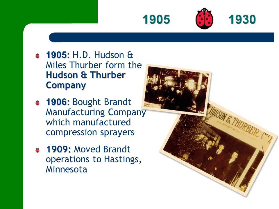 1905: Hudson & Thurber Company 1905: H.D. Hudson & Miles Thurber form the Hudson & Thurber Company 1906: 1906: Bought Brandt Manufacturing Company whi