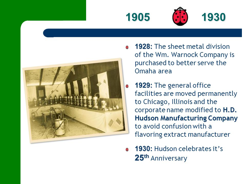 1928: 1928: The sheet metal division of the Wm. Warnock Company is purchased to better serve the Omaha area 1929: H.D. Hudson Manufacturing Company 19
