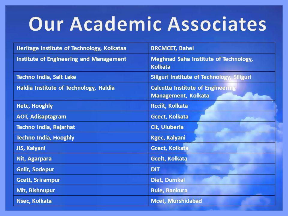 Heritage Institute of Technology, KolkataaBRCMCET, Bahel Institute of Engineering and ManagementMeghnad Saha Institute of Technology, Kolkata Techno India, Salt LakeSiliguri Institute of Technology, Siliguri Haldia Institute of Technology, HaldiaCalcutta Institute of Engineering Management, Kolkata Hetc, HooghlyRcciit, Kolkata AOT, AdisaptagramGcect, Kolkata Techno India, RajarhatCit, Uluberia Techno India, HooghlyKgec, Kalyani JIS, KalyaniGcect, Kolkata Nit, AgarparaGcelt, Kolkata Gniit, SodepurDIT Gcett, SrirampurDiet, Dumkal Mit, BishnupurBuie, Bankura Nsec, KolkataMcet, Murshidabad