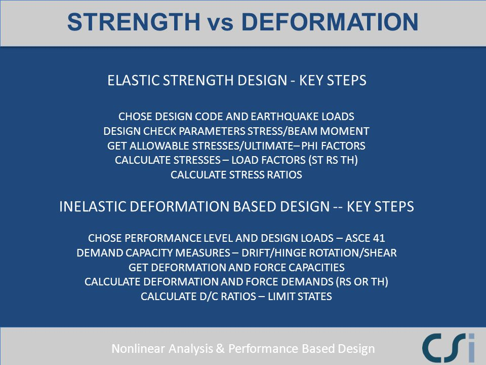 Nonlinear Analysis & Performance Based Design ELASTIC STRENGTH DESIGN - KEY STEPS CHOSE DESIGN CODE AND EARTHQUAKE LOADS DESIGN CHECK PARAMETERS STRES