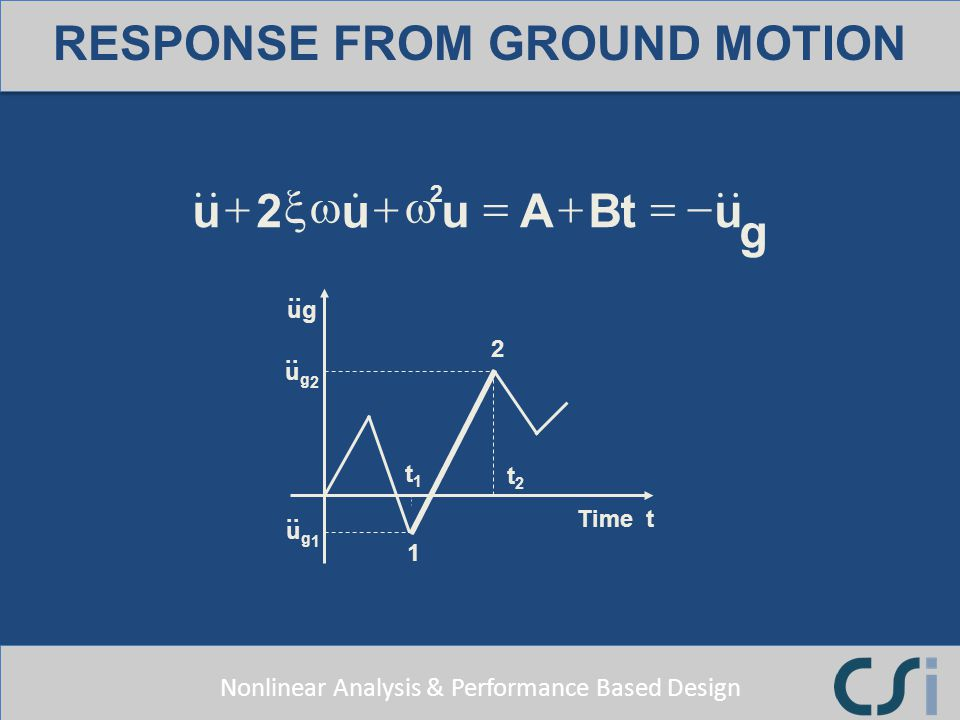 Nonlinear Analysis & Performance Based Design ug.. 2 ug2ug2 ug1ug1 1 t1t1 t2t2 Time t ABtu g u u u 2 2 RESPONSE FROM GROUND MOTION