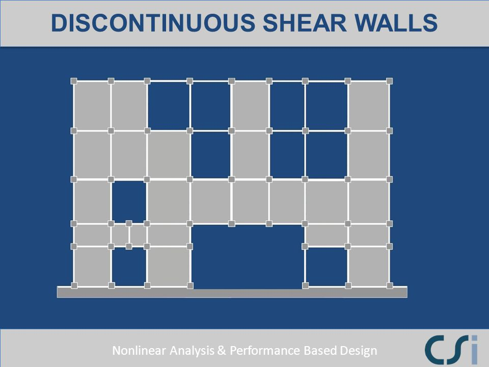 Nonlinear Analysis & Performance Based Design DISCONTINUOUS SHEAR WALLS