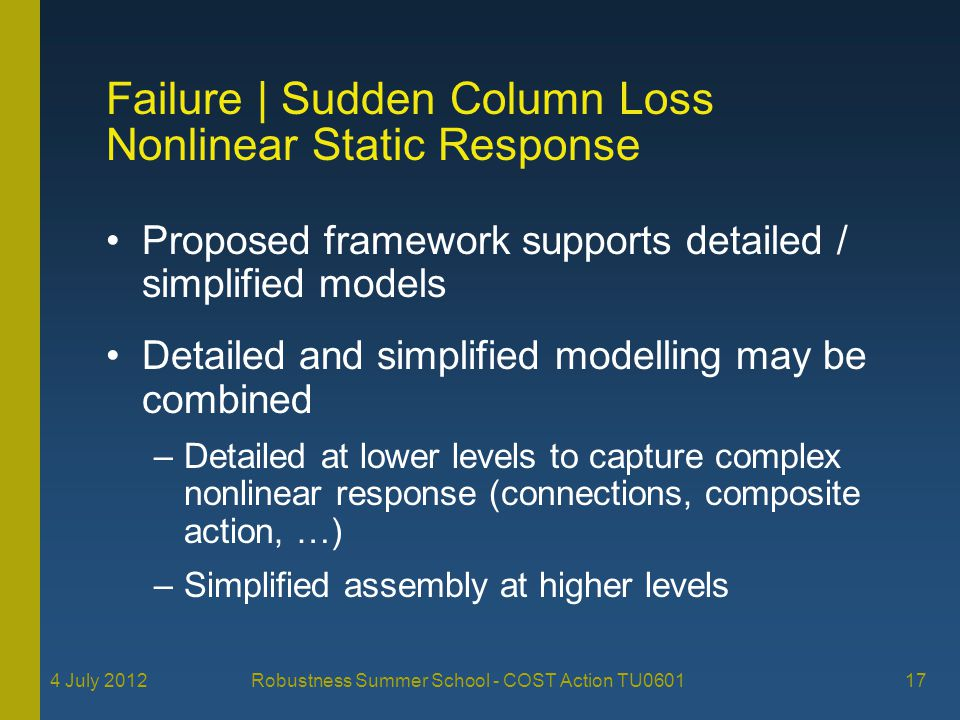 4 July 2012 Robustness Summer School - COST Action TU0601 17 Failure   Sudden Column Loss Nonlinear Static Response Proposed framework supports detailed / simplified models Detailed and simplified modelling may be combined –Detailed at lower levels to capture complex nonlinear response (connections, composite action, …) –Simplified assembly at higher levels