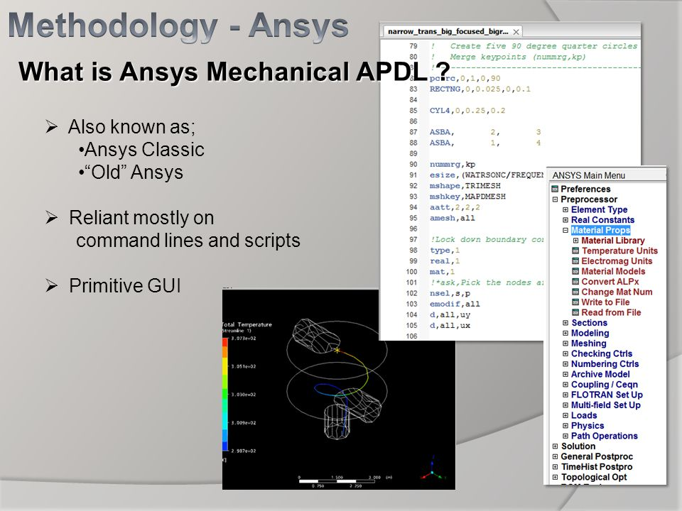 Also known as; Ansys Classic Old Ansys Reliant mostly on command lines and scripts Primitive GUI What is Ansys Mechanical APDL ?